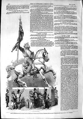 Original Old Antique Print 1851 Statue Godfrey De Boullon Horse 19th