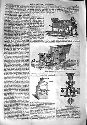 Original Old Antique Print 1851 Crosskill Root Washer Clayton Farming Sculpture