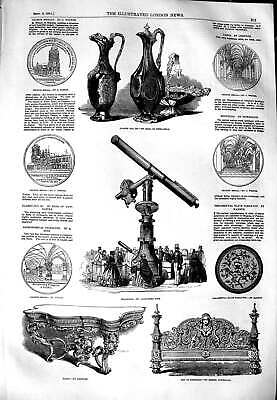 Old Antique Print 1851 Claret Jug Telescope Table Bedstead Church Medal 19th