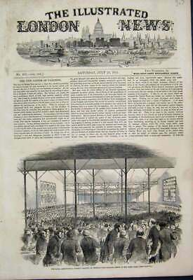 Original Old Antique Print 1851 Pavilion Dinner Home Park Windsor Agricultural