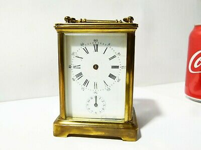 Antique Brass Cased Carriage Clock Alarm, Working. Enamel Dial Roman Numerals