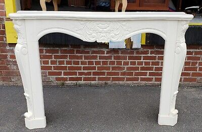 Very Nice Carved Wood & Painted White Fireplace Mantel Piece