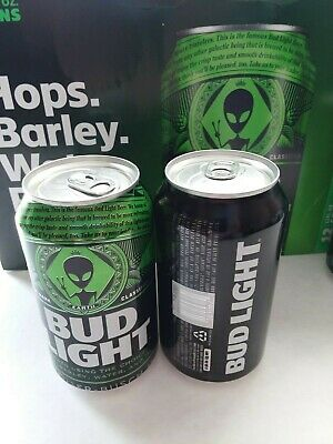 *2* 2019 Bud Light Storm Area 51 Alien Cans Sealed Top Bottom Opened Empty Clean