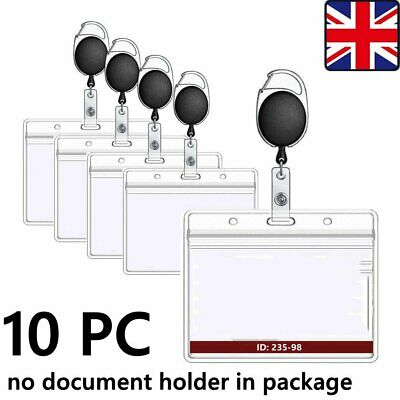 10x Badge Reel Pull Retractable ID Holder For Security Card Identity Keychain UK