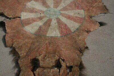 Antique Native American Buffalo Hide Robe Rare Plains Indian Mid 1800's Folk Art