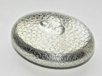 Antique Victorian Solid Silver Sterling Squeeze Snuff Tobacco Box Hm B/Ham 1897