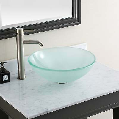 """Avanity 16.5-inch Round Tempered Frosted Glass Sink Vessel - Frosted 16.5""""W x 5."""