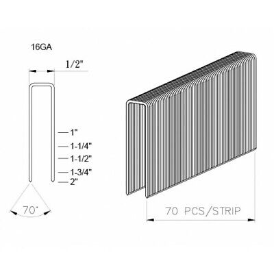 """GS-1-1/2"""" Galvanized 16 Gauge Staples for PASLODE 10,000/Case"""
