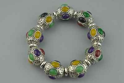 China Collectable Handwork Miao Silver Carve Flower Inlay Agate Noble Bracelet