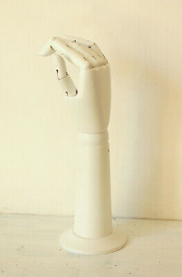 Articulated Hand Wrist on Stand White Wooden Mannequin Standing Display Artists