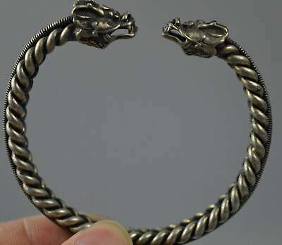 Ancient Collectable Handwork Old Miao SIlver Carve Dragon head Exorcism Bracelet