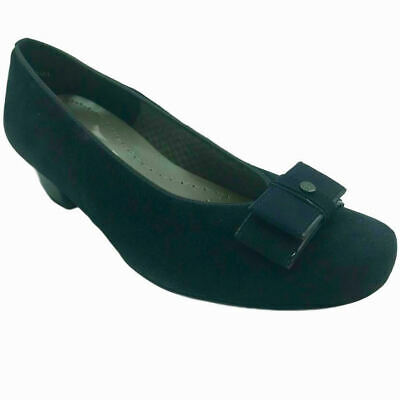 Ara Ladies Womens Slip On Navy Suede Low Heel Smart Formal Bow Court Shoes