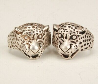 2 China Tibetan Silver Hand-Carved Leopard Ring Exclusive Custom Collection
