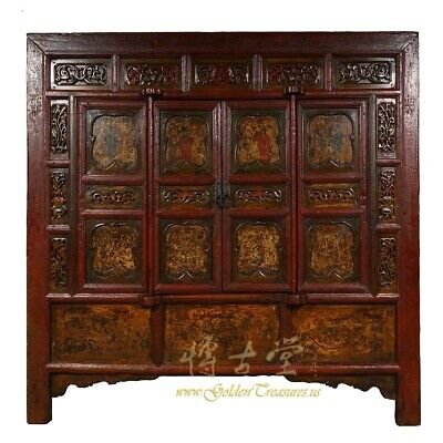 19 Century Chinese Carved Lacquered Temple Armoire, Cabinet