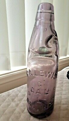 Antique G.a Lewis Ballina  Amethyst  Bottle With Marble Inside