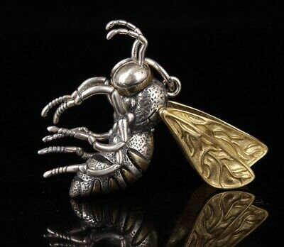 Preciou China 925 Silver Statue Pendant Bee Model Collection Mascot Old