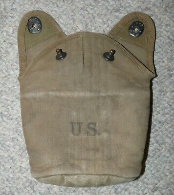 WW2 US Army Issue Khaki Canvas 2nd Pattern Model 1917 Canteen Cover 1941 Dated