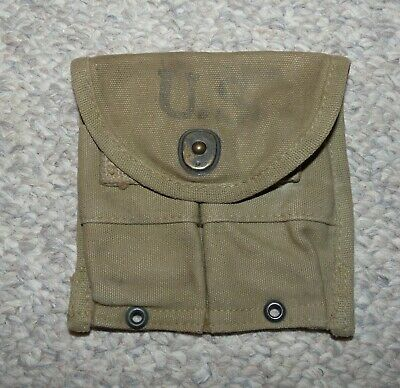 WW2 US Army Issue Khaki Canvas M1 Carbine Double Magazine Belt Pouch 1943 Dated