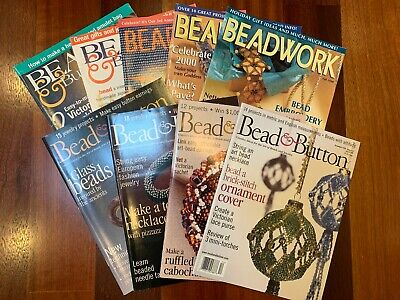 9 Back Issues of Bead &  Button Beadwork Magazines 1995-2001 Excellent Condition