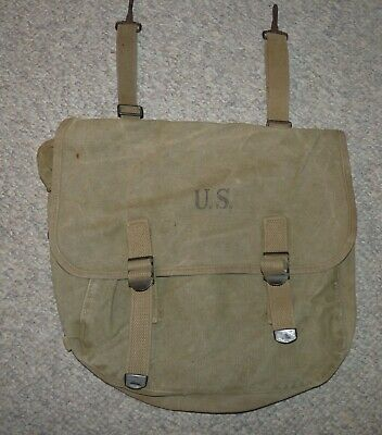 WW2 US Army Issue Khaki Canvas M1936 Model Field Bag (Musette Bag) 1941 Dated