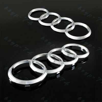 Chrome Set For Audi Rings Front +Rear A3 A4 S4 A5 S5 A6 S6 SQ7 TT Badge Emblem