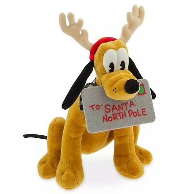 "Disney Parks Authentic Pluto 2019 Holiday Plush 13"" H Yuletide Farmhouse Col."