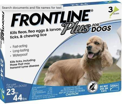 Merial Frontline Plus Blue 3 Pack For Dogs 23 - 44 lbs NEW No Box