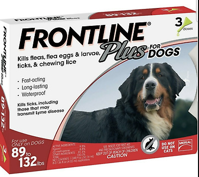 Merial Frontline Plus  3 Pack For Dogs 89 - 132 lbs NEW No Box FREE SHIPPING