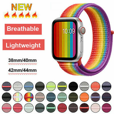 Nylon Sports Loop iWatch Band Strap For Apple Watch Series 5/4/3/2 44/42/40/38mm
