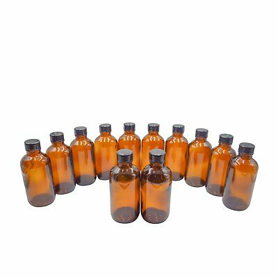 U-Pack 4 oz Amber Glass Boston Round Bottles with Black Ribbed Cap - 12 Pack