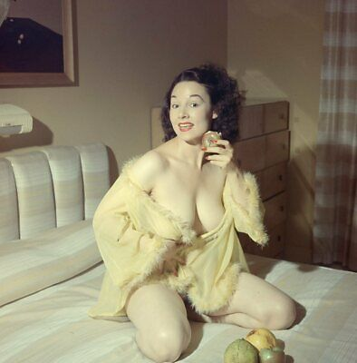 1960s Ron Vogel Transparency, busty pin-up girl with apple, cheesecake, t248297
