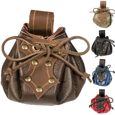 Medieval Viking Leather Purse Pirate Bag Larp Cosplay Props Accessories UK