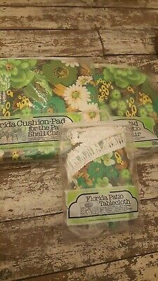 Vintage floral Garden seat cushions pads & table Cloth retro kitsch FLORIDA