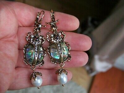 Egyptian Revival Jewellery Scarab Beetle Cultured Pearl Statement Earrings