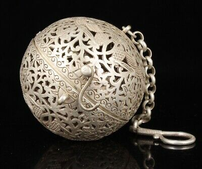 Unique China Tibetan Silver Pendant Incense Burner Hollow Relief Bird Collec Old