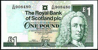 2000 Royal Bank Of Scotland Plc £1 Banknote * C/86 9084-- * Unc * (1)