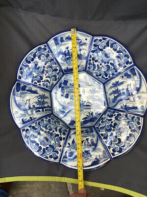 A Charming Antique Delft Blue and White Charger Pottery  Chinese Scene