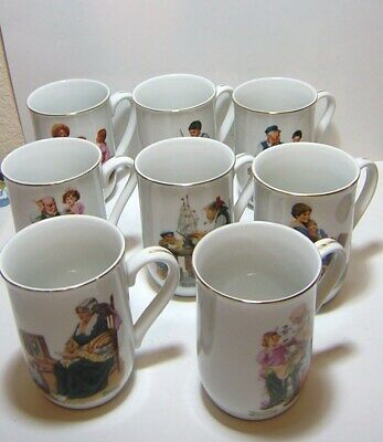 Vintage 1982 Norman Rockwell Museum Coffee/Chocolate Mugs/Cups Set of 8