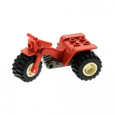 1 x Lego System Trike Motorcycle Red Tricycle Wheel Rim White Bike 30187c01