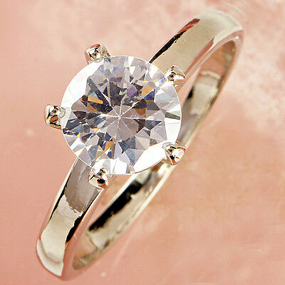 Wedding Engagement White Topaz Gemstone Silver Ring Size L N P R T V Y Z(1/2)
