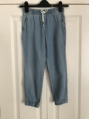 GAP Girls 10-11 L Blue Denium Look Cotton Cropped Chambray Trousers