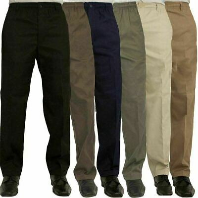 Mens Full Elasticated Waist Rugby Trousers Plain Full Length Smart Casual Pants