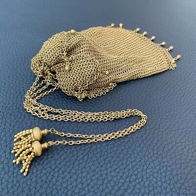 Antique Victorian Chatelaine Drawstring Chain Wire Rings Mail Mesh Purse Lining