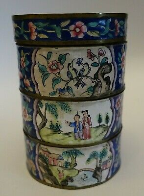 EFG25 ANTIQUE CHINESE CANTON ENAMEL THREE TIER BOX, hand painted, fine condition
