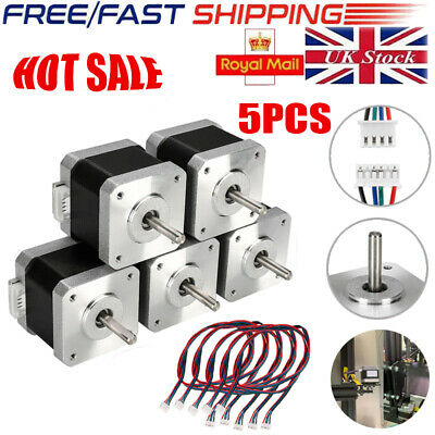 5pcs Nema 17 Stepper Motor 0.4N.M 42mm 1.8°  3D Pinter Reprap CNC Accessory UK