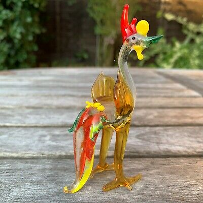 "VTG Italian Murano Art Glass Miniature Animal Figurine Cock Cockerel 4""/10cm"
