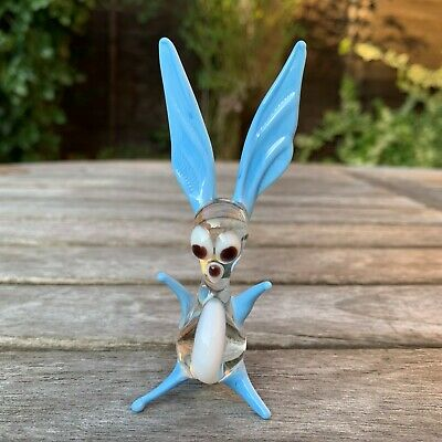 "VTG Italian Murano Art Glass Miniature Animal Figurine Blue Rabbit 3 2/4""/9 cm"