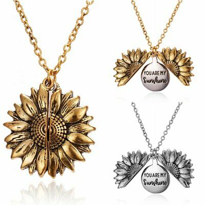 """You Are My Sunshine"" Open Locket Sunflower Pendant Necklace Unisex Jewelry Gift"