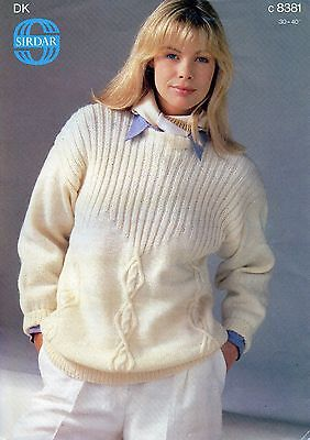 ~ Sirdar Knitting Pattern For Lady's Lovely Ribbed Yoke Diamond Cable Sweater ~