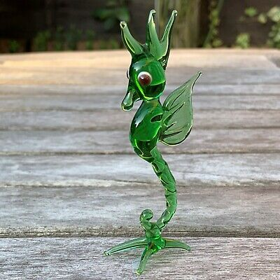 VTG Italian Murano Art Glass Miniature Animal Figurine Green Seahorse 3 2/4""